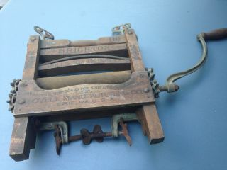 Vintage Brighton Np 110 Wooden Clothes Wringer Washer With Arm Crank photo
