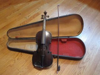 Antique Violin 3/4,  Roth - Glasser Bow,  & Gsb Wooden Coffin Case photo