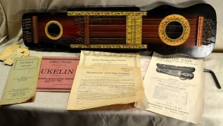 Oscar Schmidt 32 String Ukelin Instrument,  Instructions/music,  Box,  Serial 5303 photo
