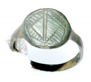 Authentic Ancient Roman Bronze Ring With Decorated Bezel - Wearable - Lm3 photo