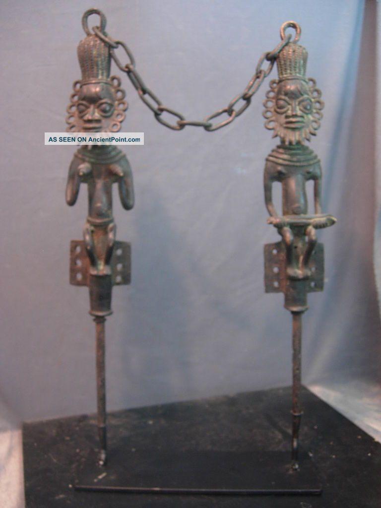 Outstanding Bronze Edan,  Ogboni Society Staffs,  Nigeria. Sculptures & Statues photo