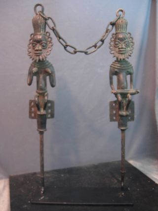 Outstanding Bronze Edan,  Ogboni Society Staffs,  Nigeria. photo