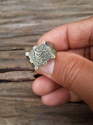 Mens Islamic Ring Brass Nomadic Antique Afghan Vintage Deer Intaglio Size 9.  9 photo