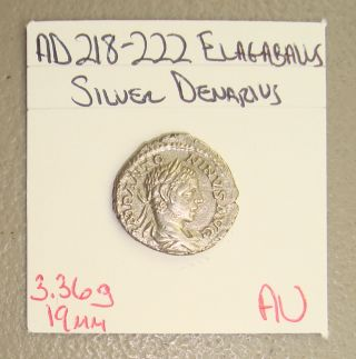 Ad 218 - 222 Elagabalus,  Jupiter Seated Reverse Ancient Roman Silver Denarius Au photo