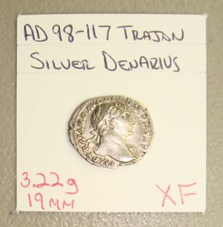 Ad 98 - 117 Trajan,  Victory With Wreath Reverse Ancient Roman Silver Denarius Xf photo