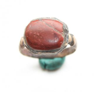 Ancient Medieval Bronze Finger Ring With Red Stone Inlay (arl02) photo