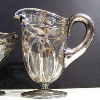 Art Nouveau La Pierre Orchid Flower Sterling Silver Overlay Sugar Bowl & Creamer photo