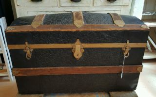 Vintage Camelback Trunk Storage Chest Steamer Train Luggage Antique Box Wood photo