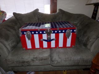 Vintage Mid Century Red White And Blue Patriotic Metal Trunk Foot Locker photo
