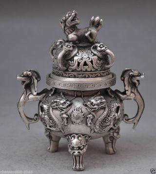 Collectible Decorated Old Handwork Tibet Silver Carved Long Incense Burners photo