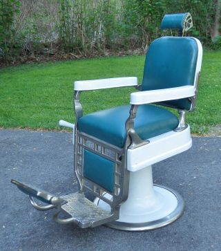 Antique Barber Chair Theo A Kochs Chicago 1920 ' S? 1930 ' S? Old Vintage Tattoo photo