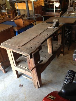 3 Vise Antique Wood Carpenters Work Bench Kitchen Island Table Industrial Age photo