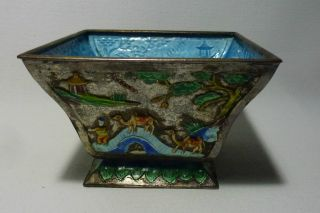 Chinese Enamel Metal Square Bowl W Figures & Camels photo