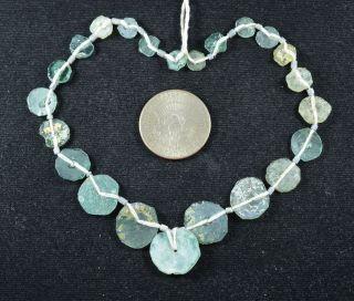 Ancient Roman Glass Beads 1 Medium Strand Aqua And Green 100 - 200 Bc Rm7 photo