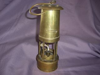 Antique Coal Miners Hanging Oil Lantern Brass Mining Oil Safety Lamp Am690 photo