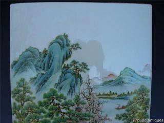Chinese Famille Rose Porcelain Plaque With Landscape Scene photo
