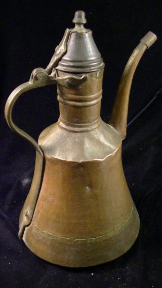 Antique Islamic Copper Coffee Pot,  Dallah.  Dovetailed Brass Seams,  Hammered photo