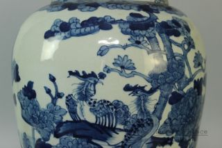 Chinese Fine Rare Blue And White Porcelain Flower Bird Vase photo