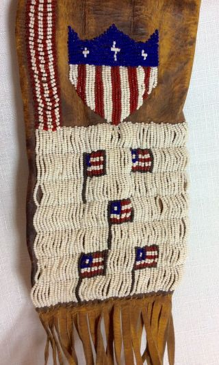 Antique Native American Sioux Beaded Leather Pipe Bag Flag Design photo