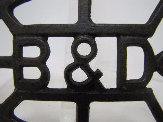 Antique Cast Iron - B&d - Design Trivet Metal Iron Holder photo