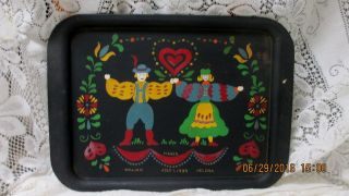 Unusual Hand Painted Toleware Folk Art 1939 Wedding Metal Serving Tray photo
