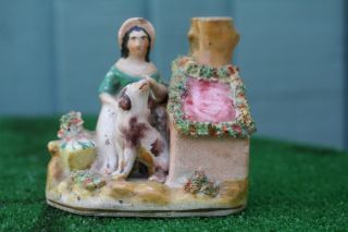 Mid 19thc Staffordshire Female Figurine,  Dog,  Kennel & Spill Vase C1860s photo