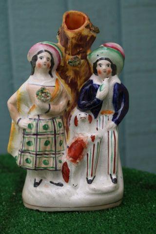 Mid 19thc Staffordshire Male & Female Figurines,  Dog & Spill Vase C1860s photo