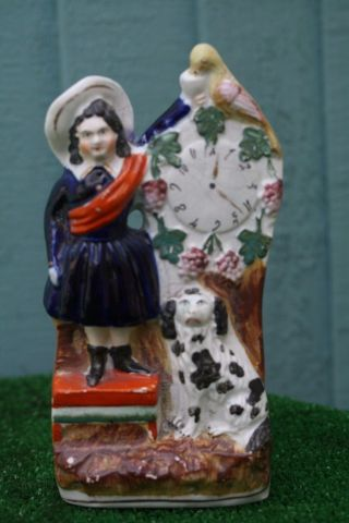 Mid 19thc Staffordshire Female Figurine,  Dog,  Parrot & Clock Face C1860s photo
