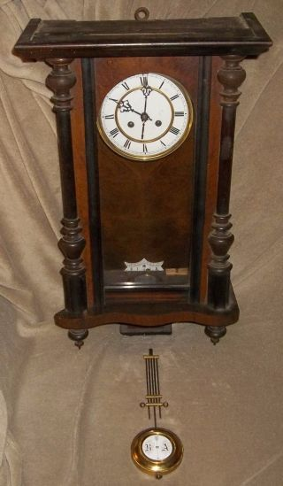 Antique Junghans ? German ? Wall Clock Box Vienna Regulator Porcelain Dial Ra & photo