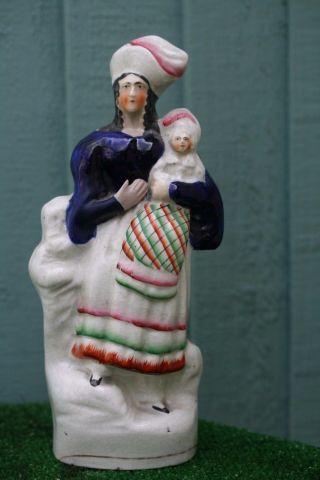 Mid 19thc Staffordshire Female Figurine & Child In Tartan Blanket C1860s photo