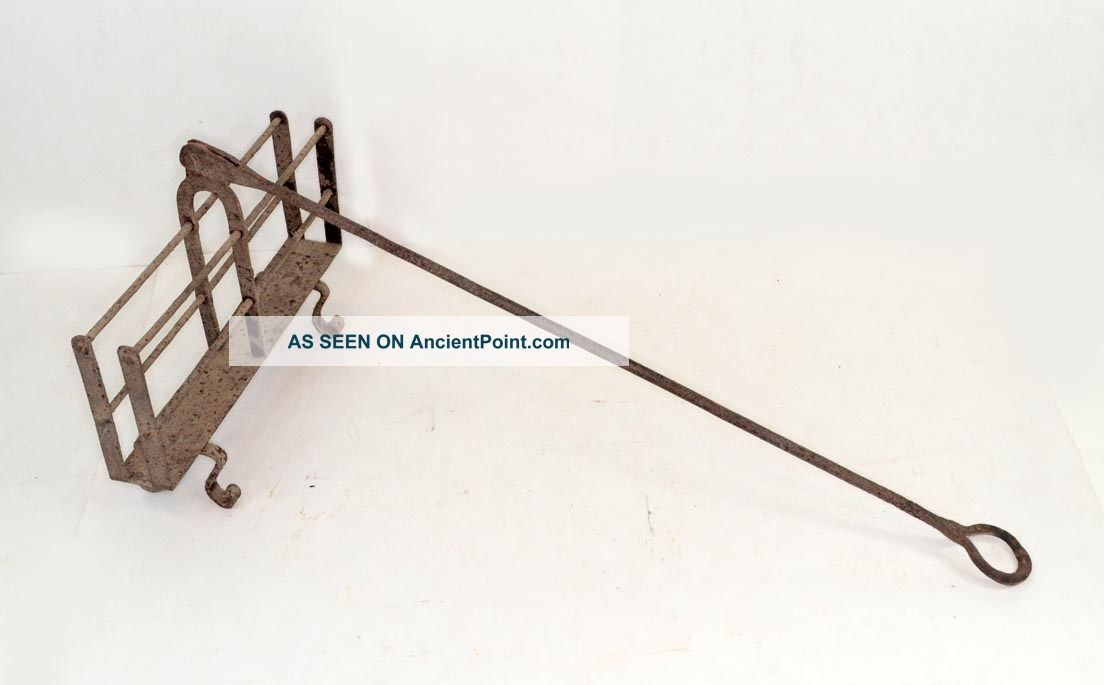 Toaster Fireplace Hand Forged Swing Handle Primitive Antique 19thc 1800 Toasters photo