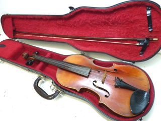 Antique/vintage Full Size 4/4 Scale Strad Conservatory Violin W/ Old Bow & Case photo