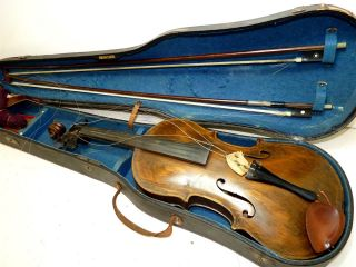 Antique Very Old 1pc Curly Maple Back Full Size 4/4 Scale Unique Violin & 2 Bows photo