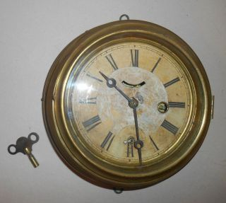 Antique 8 Day Waterbury Nautical Ship Clock Lever Wood Back 1860s Date photo