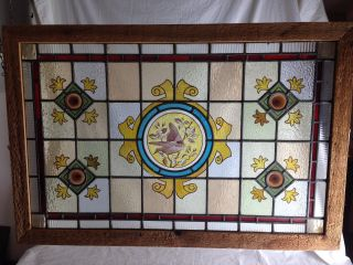 1800 ' S Stained Glass Window.  Painted Bird & Scrolls.  22.  5