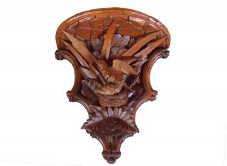 Large 19th Century Black Forest Walnut Carved Shelf photo