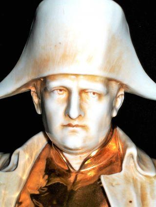 Antique German Dresden Napoleon Bonaparte Military Porcelain Bust Figurine photo