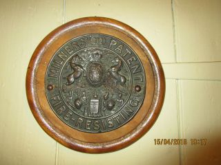 Antique Milners 212 Patent Fire Resisting Safe Plaque.  6.  5 In.  Safe Plaque photo
