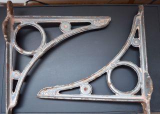 Vintage Cast Iron Shelf Brackets Supports 9 Inch 130 - P photo