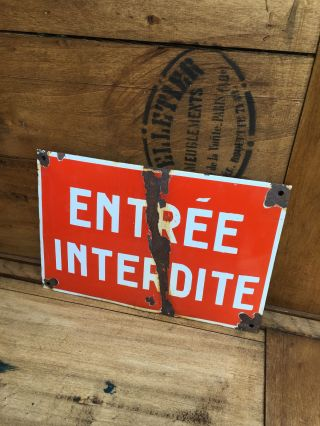 Vintage French Enamel Sign photo