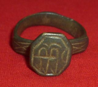 Stuning Byzantine Ancient Artifact Bronze Engraved Simvol Ring Circa 1300 Ad - 20 photo