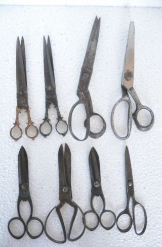8 Pc Old Iron 1930 ' S Handcrafted Different Shears / Scissors,  Rich Patina photo
