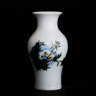 Famille Rose Porcelain Hand - Painted Bird & Bamboo Vase W Qianlong Mark Csy861 photo