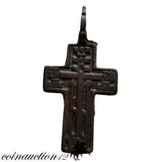Wearable,  Late Medieval Ae Christian Cross Pendant 1500 Ad With Inscriptions photo
