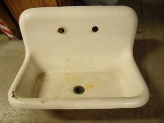 Antique Popular Mini Farm Sink By Kohler Rolled Rim Cast Iron White Porcelain photo