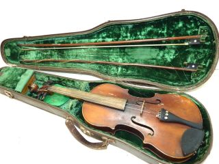 Antique/vintage Full Size 4/4 Scale Unmarked Violin W/ 2 Old Bows & Case photo