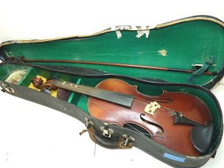 Antique/vintage Full Size 4/4 Scale Stradivarius Model Violin W/ Case & Old Bow photo
