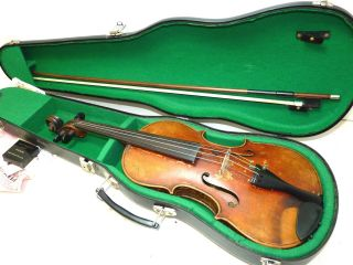 Antique Full Size 4/4 Scale German Strad Violin W/ Old Case & Bow - - Ready To Play photo