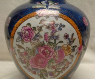 Antique Navy Blue Porcelain Urn W.  Hand Painted Flower Designs photo