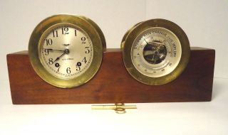 Vintage Seth Thomas,  Mayflower 3,  Ships Bell Clock & Holosteric Barometer photo